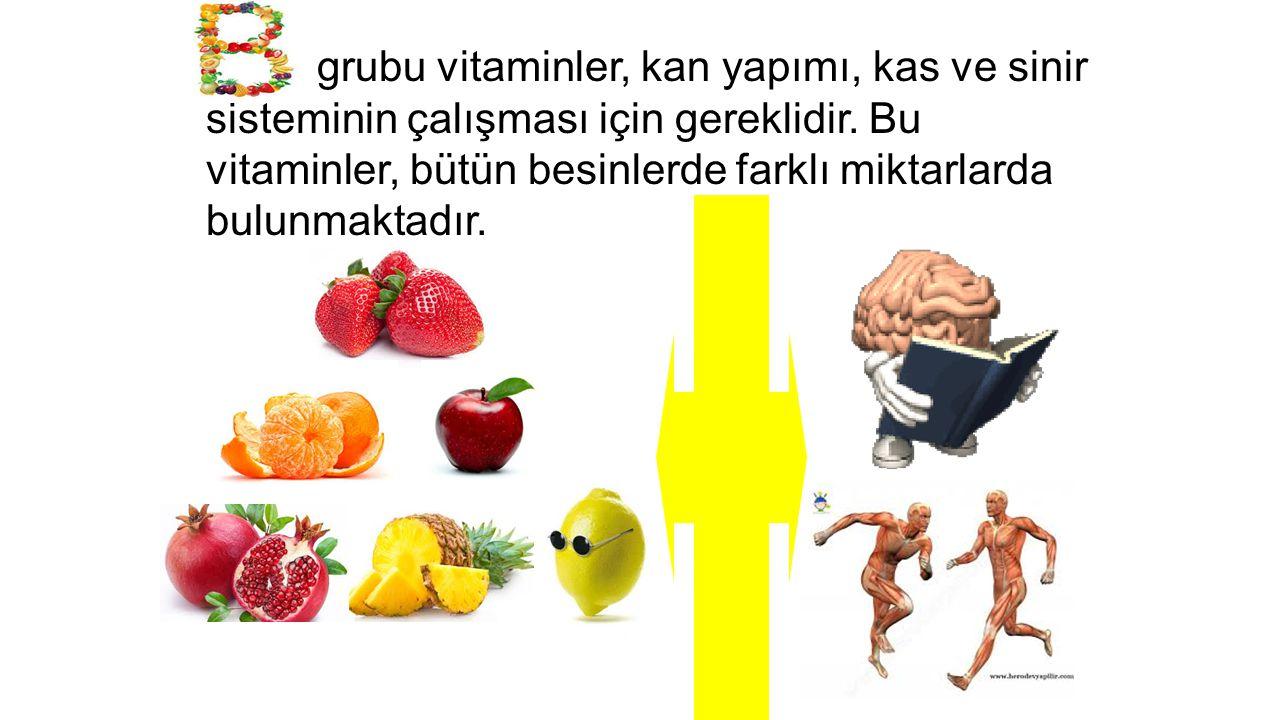 B grubu vitaminler, kan yapımı, kas ve sinir sisteminin çalışması için gereklidir.