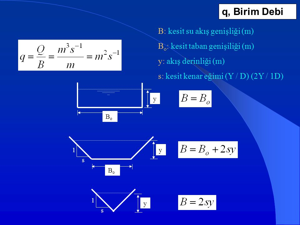 q, Birim Debi B: kesit su akış genişliği (m)