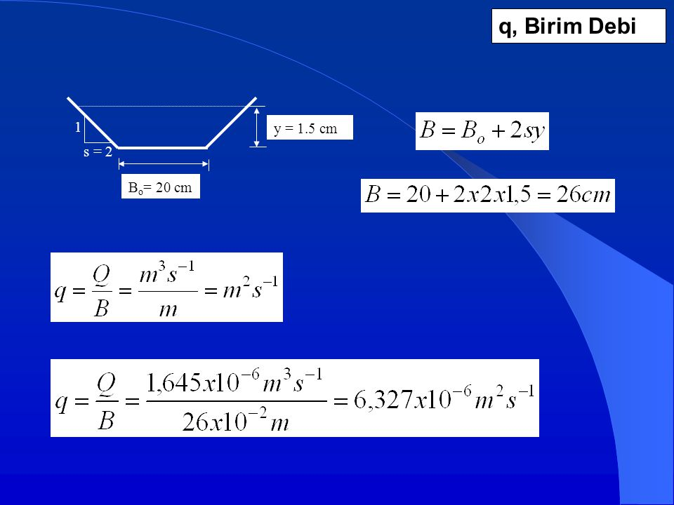 q, Birim Debi y = 1.5 cm Bo= 20 cm s = 2 1