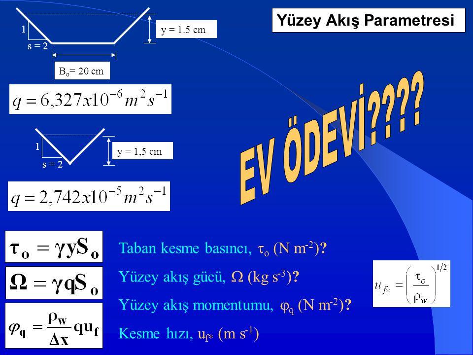 EV ÖDEVİ Yüzey Akış Parametresi Taban kesme basıncı, o (N m-2)