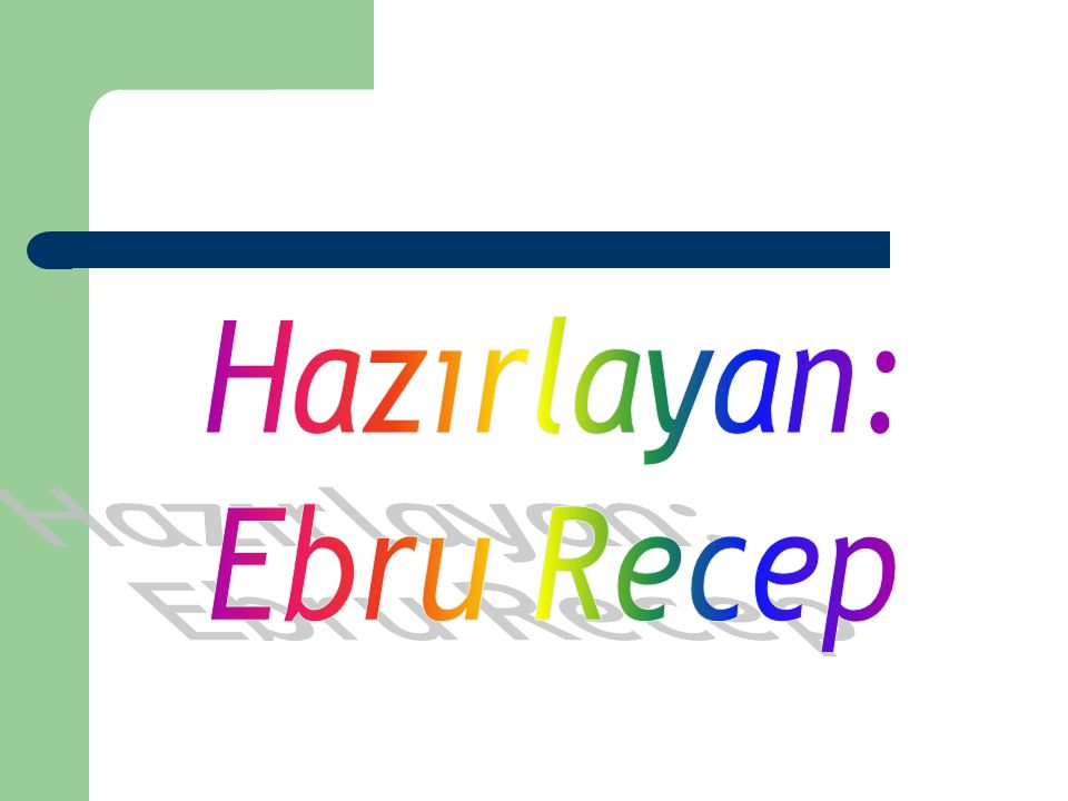 Hazırlayan: Ebru Recep