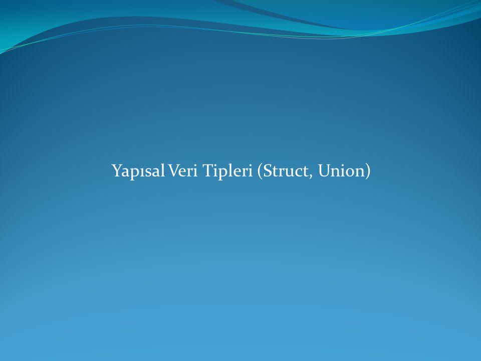 Yapısal Veri Tipleri (Struct, Union)