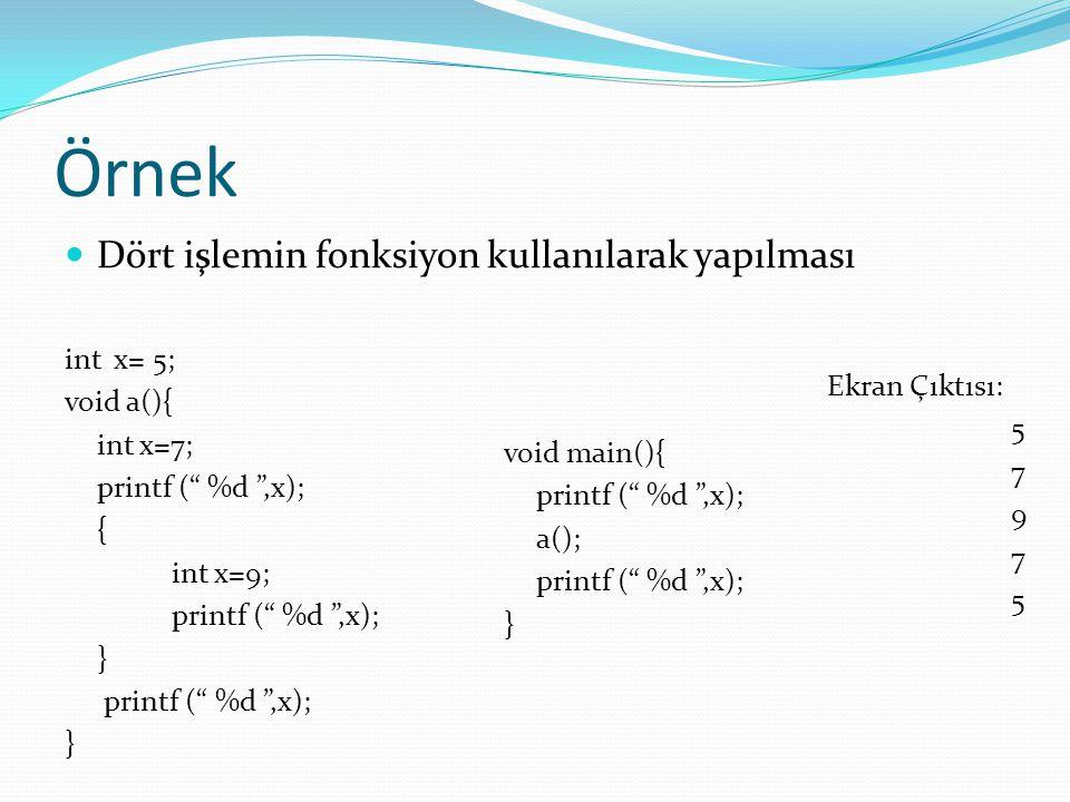 Örnek Dört işlemin fonksiyon kullanılarak yapılması int x= 5;