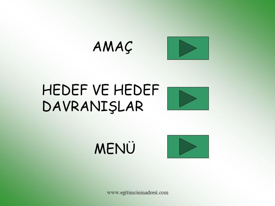 AMAÇ HEDEF VE HEDEF DAVRANIŞLAR MENÜ www.egitimcininadresi.com