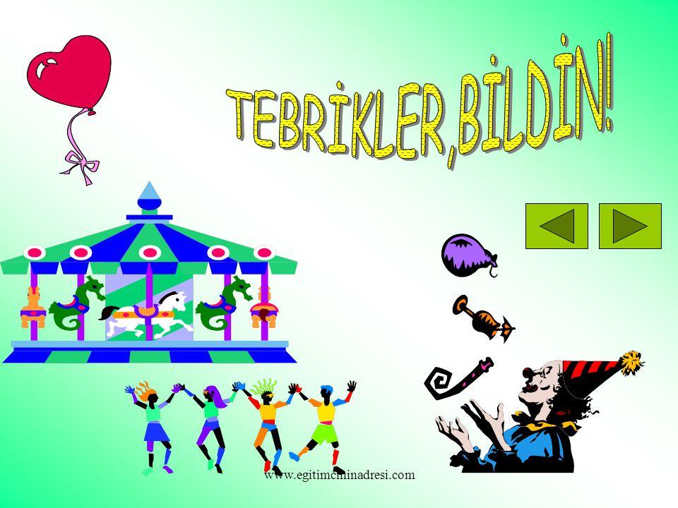 TEBRİKLER,BİLDİN! www.egitimcininadresi.com