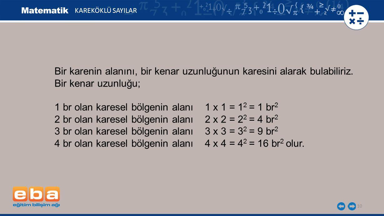 1 br olan karesel bölgenin alanı 1 x 1 = 12 = 1 br2