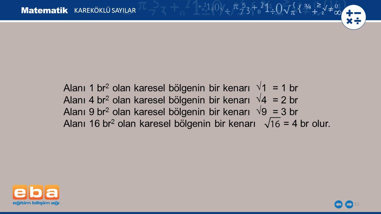 Alanı 1 br2 olan karesel bölgenin bir kenarı 1 = 1 br
