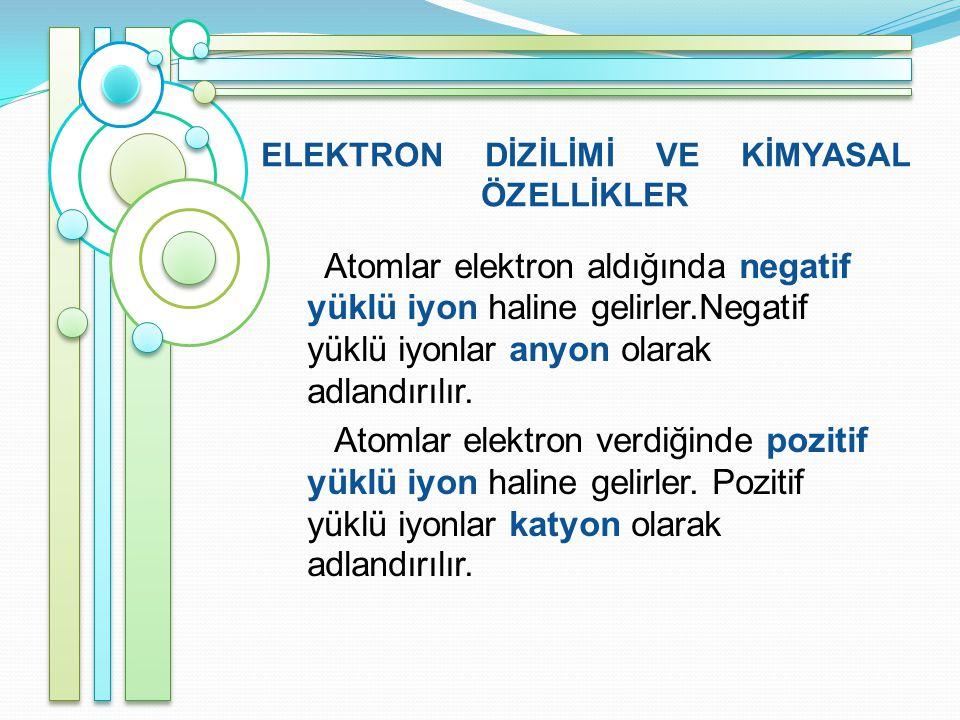 ELEKTRON DİZİLİMİ VE KİMYASAL ÖZELLİKLER