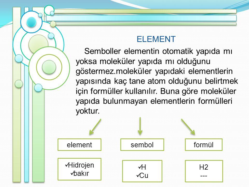 ELEMENT Semboller elementin otomatik yapıda mı yoksa moleküler yapıda mı olduğunu göstermez.moleküler yapıdaki elementlerin yapısında kaç tane atom olduğunu belirtmek için formüller kullanılır. Buna göre moleküler yapıda bulunmayan elementlerin formülleri yoktur.