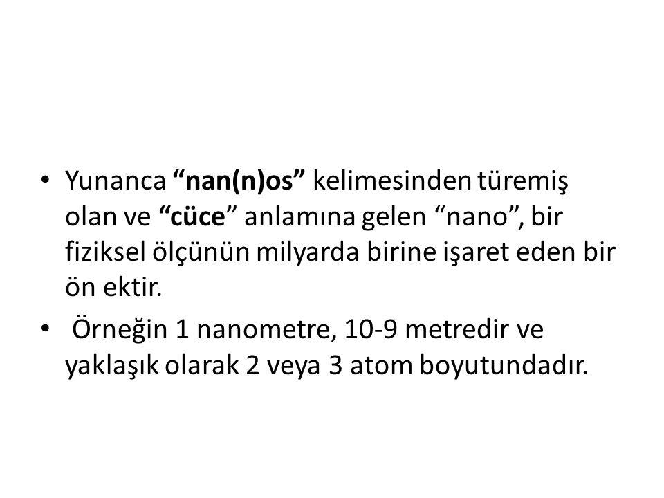 Yunanca nan(n)os kelimesinden türemiş olan ve cüce anlamına gelen nano , bir fiziksel ölçünün milyarda birine işaret eden bir ön ektir.