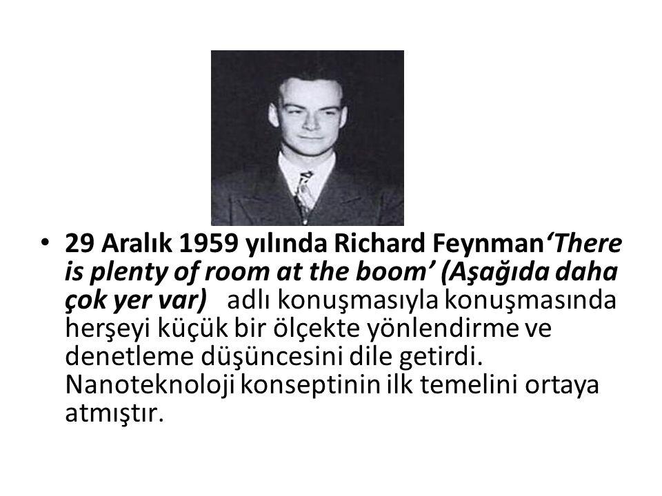 29 Aralık 1959 yılında Richard Feynman'There is plenty of room at the boom' (Aşağıda daha çok yer var) adlı konuşmasıyla konuşmasında herşeyi küçük bir ölçekte yönlendirme ve denetleme düşüncesini dile getirdi.