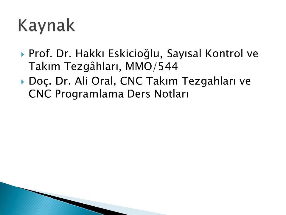 Kaynak Prof. Dr. Hakkı Eskicioğlu, Sayısal Kontrol ve Takım Tezgâhları, MMO/544.