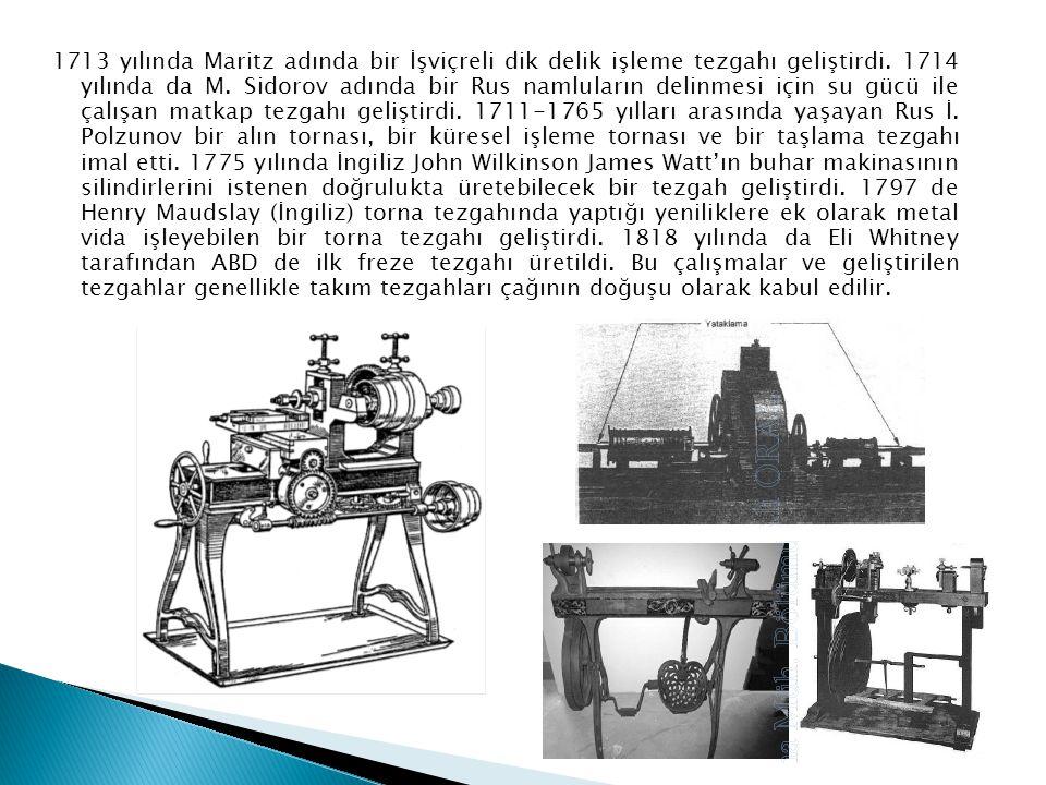 1713 yılında Maritz adında bir İşviçreli dik delik işleme tezgahı geliştirdi.