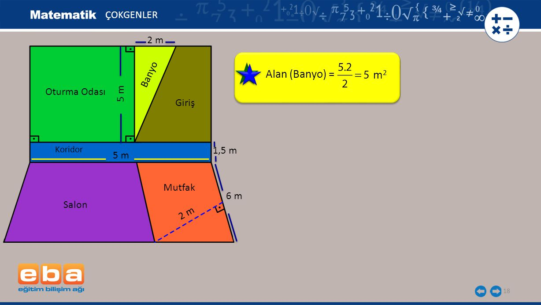 Alan (Banyo) = m2 ÇOKGENLER 2 m Banyo Oturma Odası 5 m Giriş 1,5 m 5 m