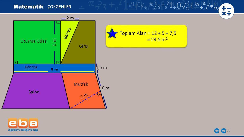 Toplam Alan = 12 + 5 + 7,5 = 24,5 m2 ÇOKGENLER 2 m Banyo Oturma Odası