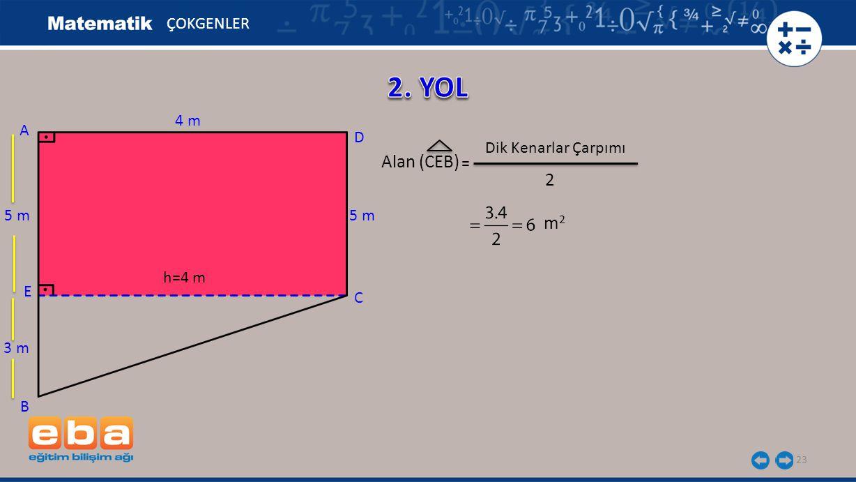 2. YOL Alan (CEB) 2 m2 ÇOKGENLER 4 m A D Dik Kenarlar Çarpımı = 5 m
