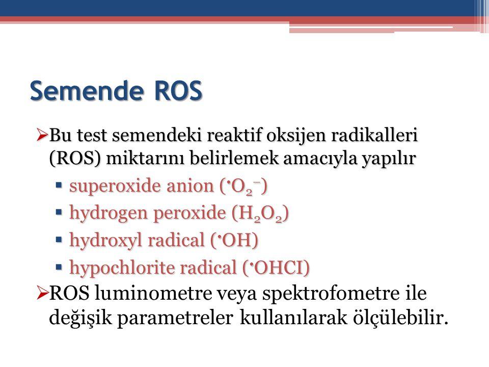 Semende ROS Bu test semendeki reaktif oksijen radikalleri (ROS) miktarını belirlemek amacıyla yapılır.