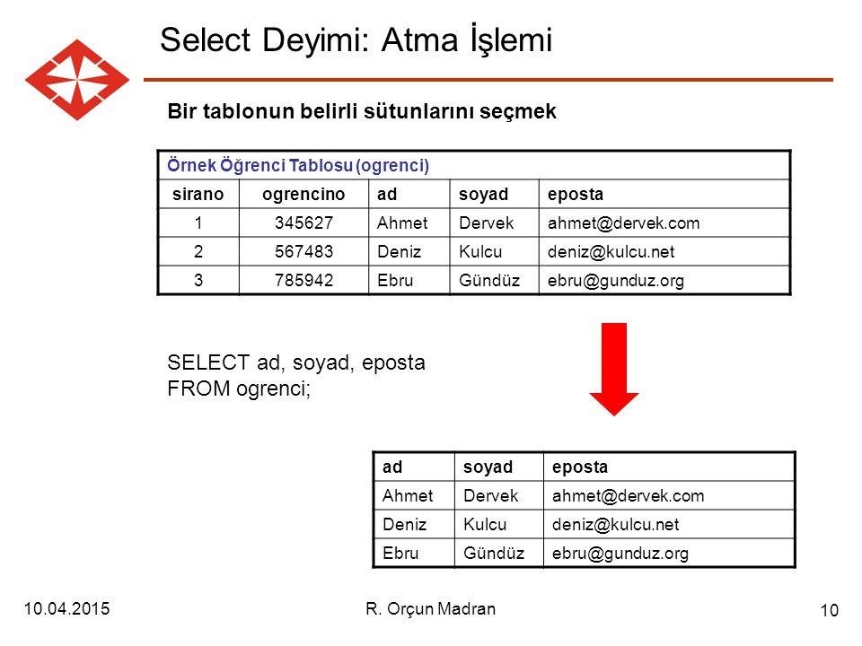 Select Deyimi: Atma İşlemi