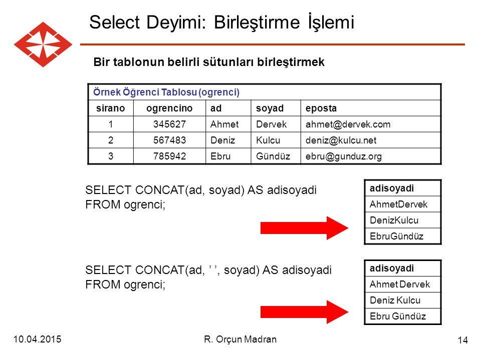 Select Deyimi: Birleştirme İşlemi
