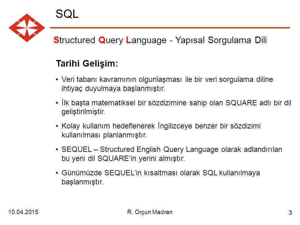 SQL Structured Query Language - Yapısal Sorgulama Dili Tarihi Gelişim: