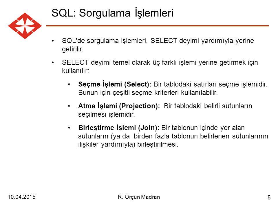 SQL: Sorgulama İşlemleri