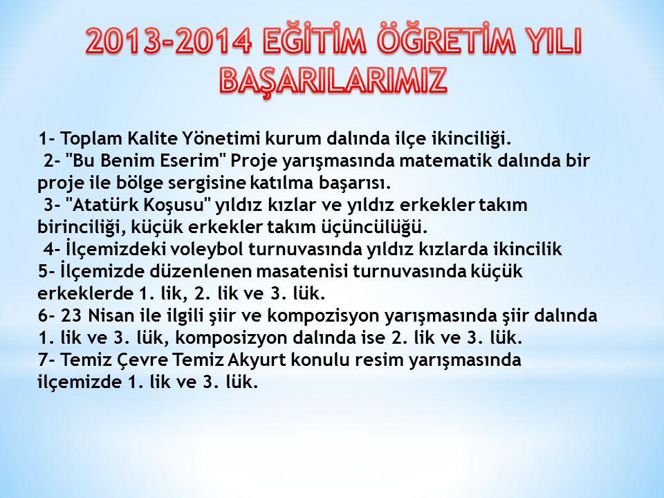 2013-2014 EĞİTİM ÖĞRETİM YILI BAŞARILARIMIZ