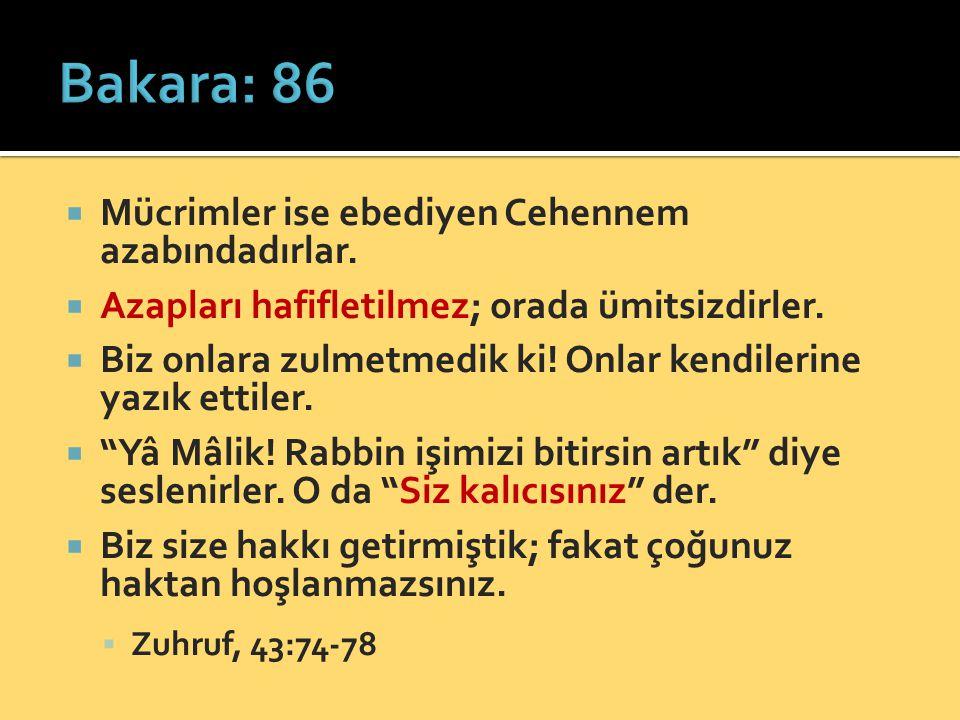 Bakara: 86 Mücrimler ise ebediyen Cehennem azabındadırlar.