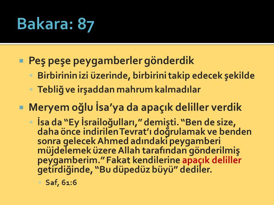 Bakara: 87 Peş peşe peygamberler gönderdik