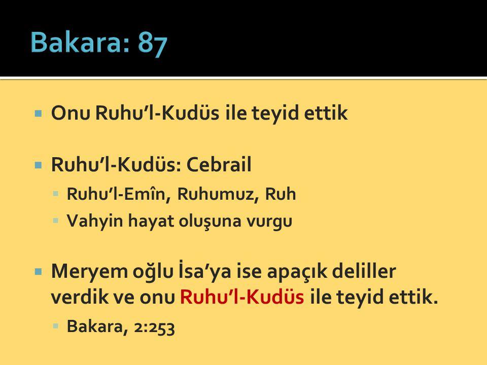 Bakara: 87 Onu Ruhu'l-Kudüs ile teyid ettik Ruhu'l-Kudüs: Cebrail