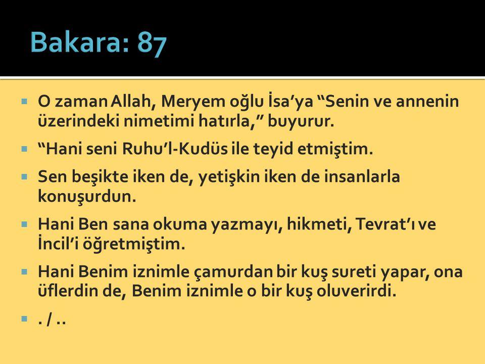 Bakara: 87 O zaman Allah, Meryem oğlu İsa'ya Senin ve annenin üzerindeki nimetimi hatırla, buyurur.