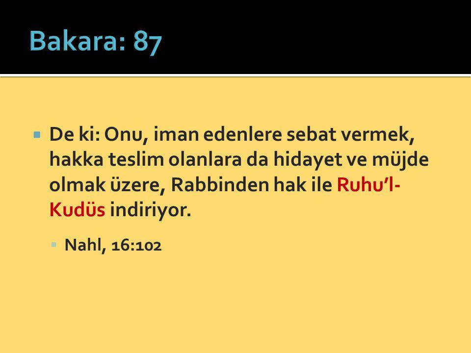 Bakara: 87 De ki: Onu, iman edenlere sebat vermek, hakka teslim olanlara da hidayet ve müjde olmak üzere, Rabbinden hak ile Ruhu'l-Kudüs indiriyor.