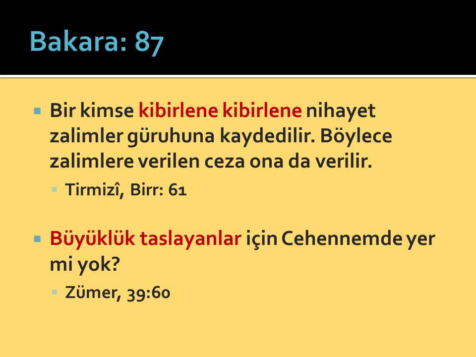 Bakara: 87 Bir kimse kibirlene kibirlene nihayet zalimler güruhuna kaydedilir. Böylece zalimlere verilen ceza ona da verilir.