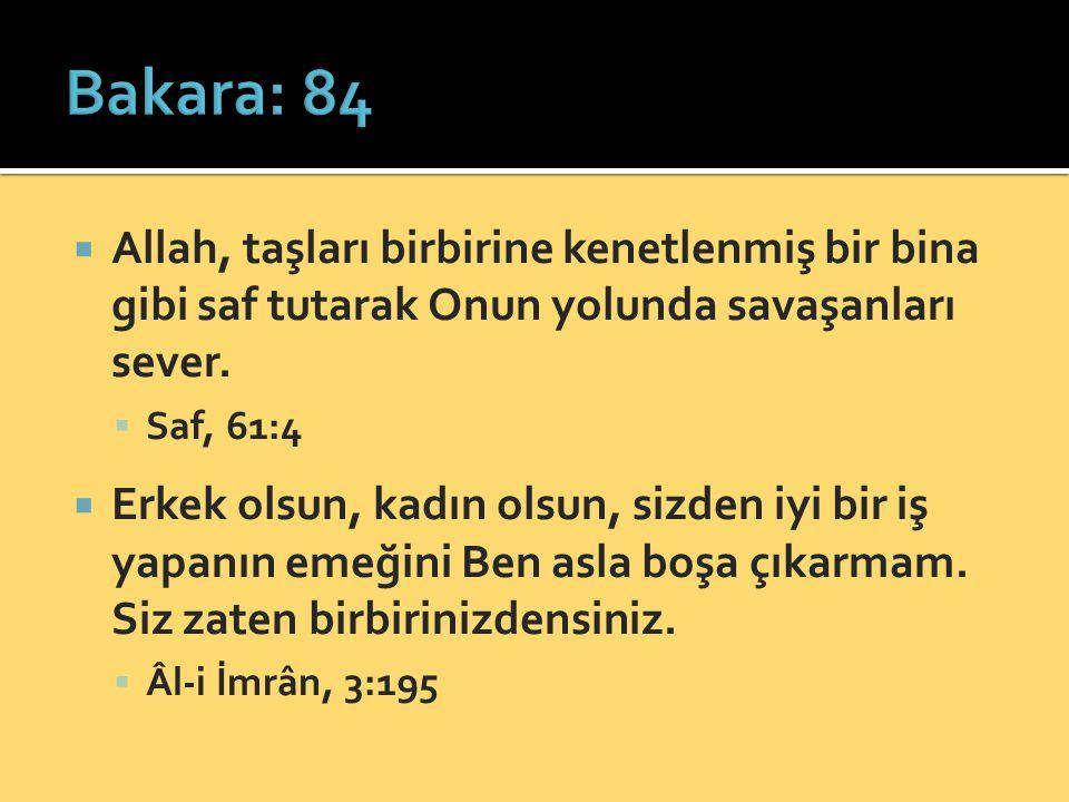 Bakara: 84 Allah, taşları birbirine kenetlenmiş bir bina gibi saf tutarak Onun yolunda savaşanları sever.