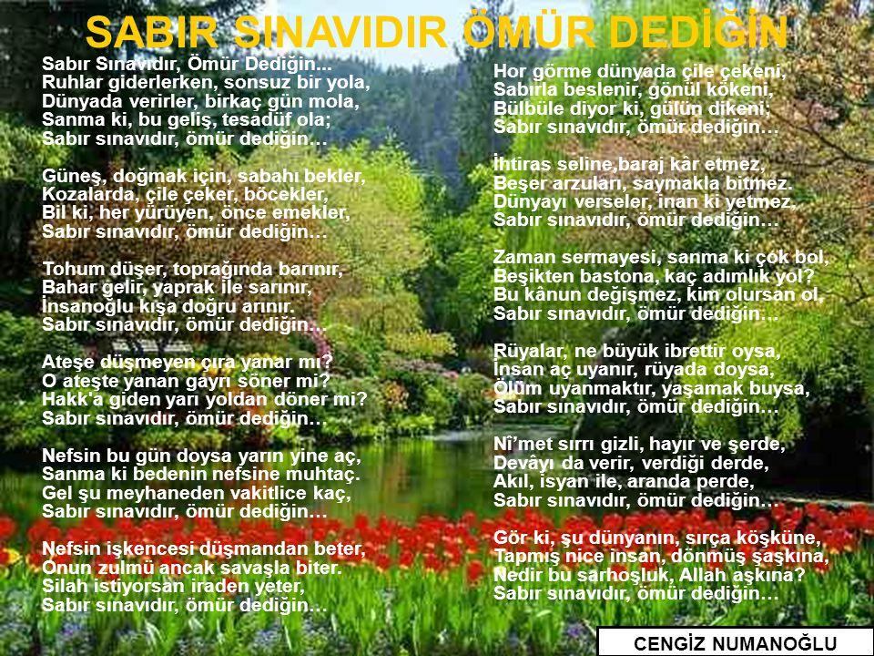 SABIR SINAVIDIR ÖMÜR DEDİĞİN
