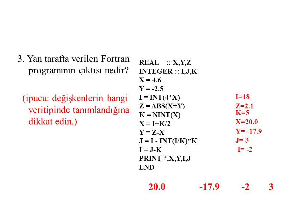 3. Yan tarafta verilen Fortran programının çıktısı nedir