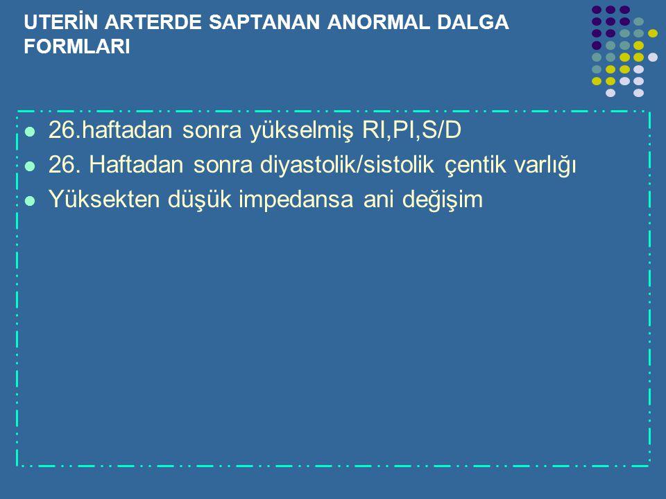 UTERİN ARTERDE SAPTANAN ANORMAL DALGA FORMLARI