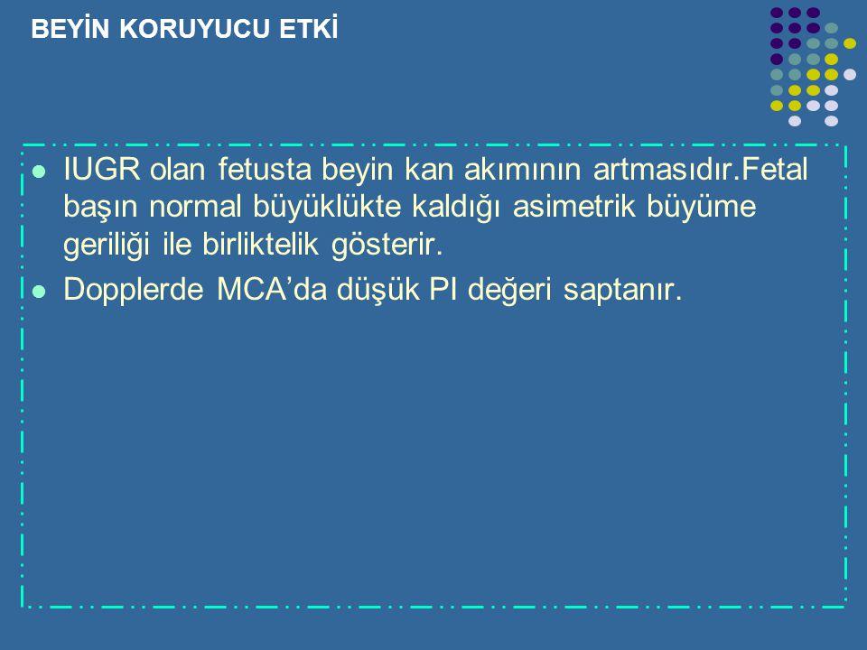 Dopplerde MCA'da düşük PI değeri saptanır.