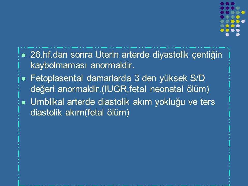 26.hf.dan sonra Uterin arterde diyastolik çentiğin kaybolmaması anormaldir.