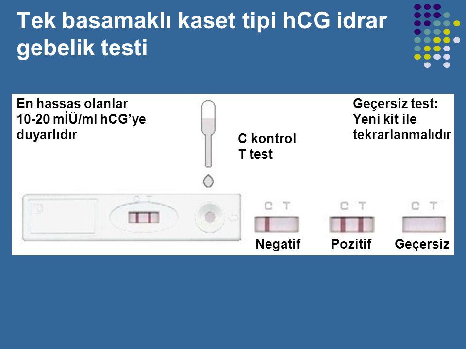 Tek basamaklı kaset tipi hCG idrar gebelik testi