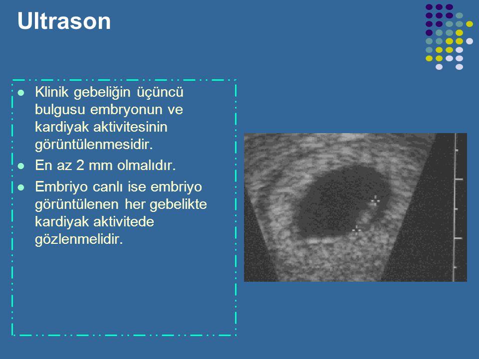 Ultrason Klinik gebeliğin üçüncü bulgusu embryonun ve kardiyak aktivitesinin görüntülenmesidir. En az 2 mm olmalıdır.