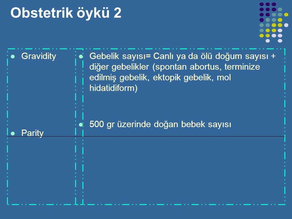 Obstetrik öykü 2 Gravidity Parity