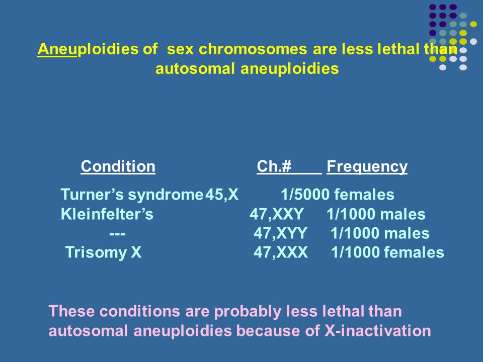 Aneuploidies of sex chromosomes are less lethal than autosomal aneuploidies