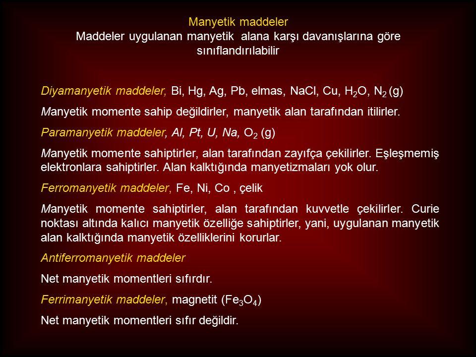 Manyetik maddeler Maddeler uygulanan manyetik alana karşı davanışlarına göre sınıflandırılabilir.