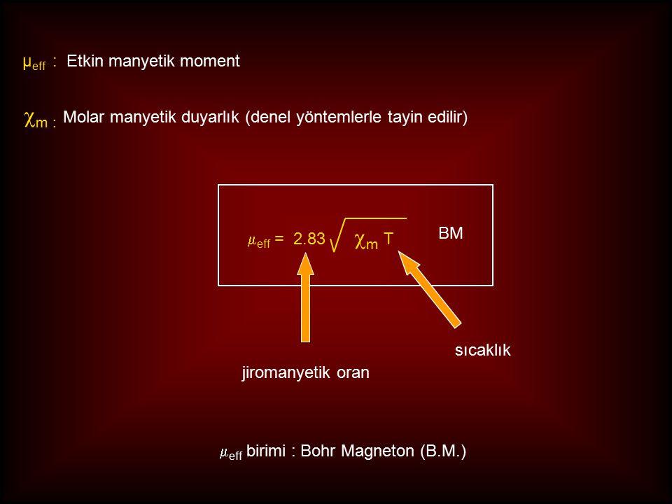 m : Molar manyetik duyarlık (denel yöntemlerle tayin edilir)