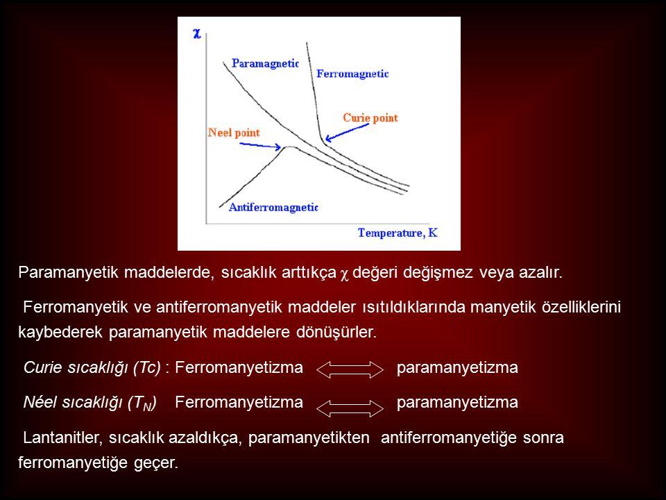 Paramanyetik maddelerde, sıcaklık arttıkça χ değeri değişmez veya azalır.