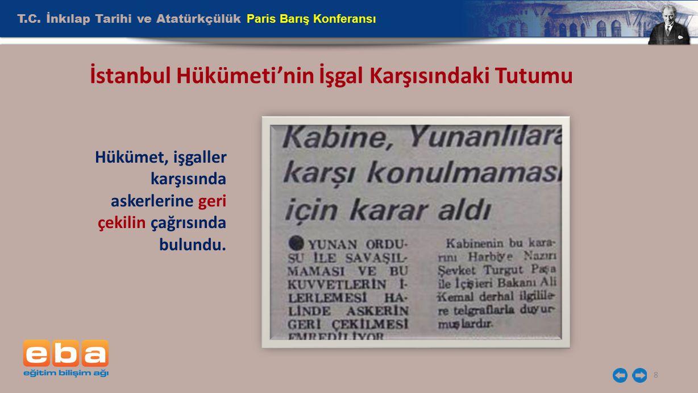 İstanbul Hükümeti'nin İşgal Karşısındaki Tutumu