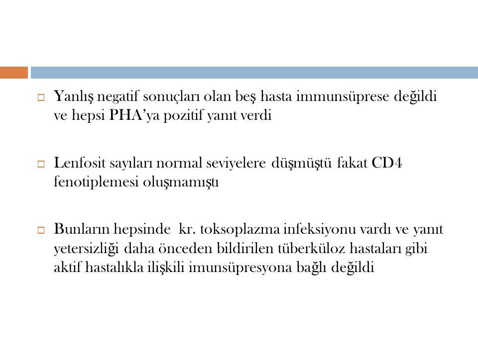 Yanlış negatif sonuçları olan beş hasta immunsüprese değildi ve hepsi PHA'ya pozitif yanıt verdi