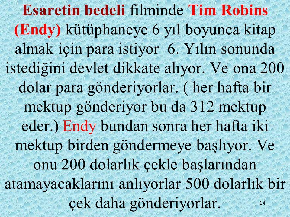 Esaretin bedeli filminde Tim Robins (Endy) kütüphaneye 6 yıl boyunca kitap almak için para istiyor 6.