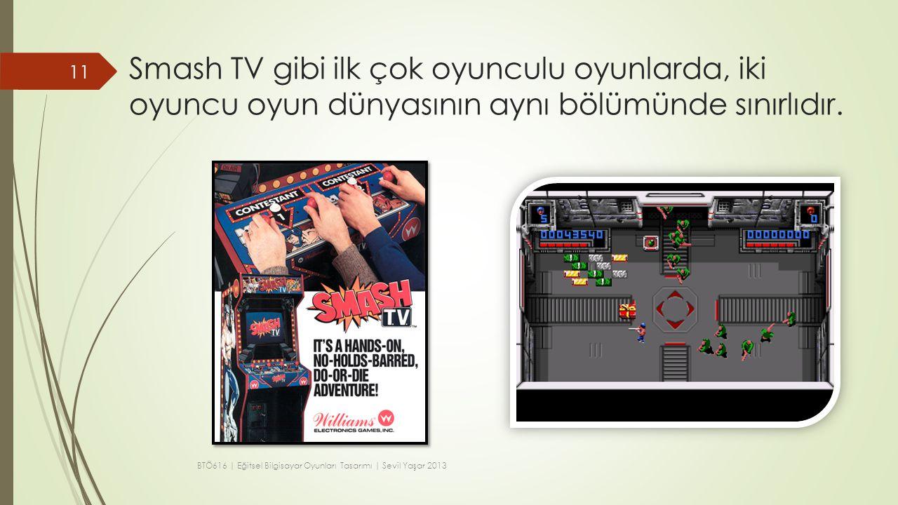 Smash TV gibi ilk çok oyunculu oyunlarda, iki oyuncu oyun dünyasının aynı bölümünde sınırlıdır.