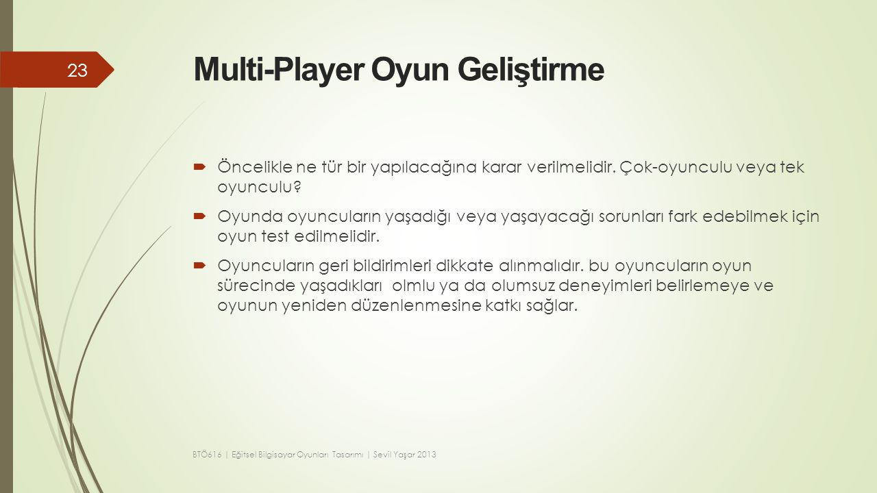 Multi-Player Oyun Geliştirme